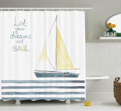 Yelkenli Desenli Duş Perdesi Beyaz Deniz Çizgili