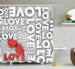 Aşk Temalı Duş Perdesi Romantik Kırmızı Kalpler