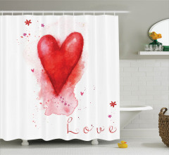 Suluboya Resmi Etkili Duş Perdesi Kalp ve Çiçekler