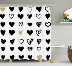 Aşk Temalı Duş Perdesi Siyah Beyaz Romantik Kalpler