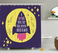 Aşk Temalı Duş Perdesi Mor Uzay Mekiği ve Sarı Ay