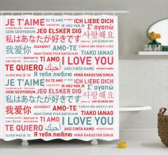 Rengarenk Duş Perdesi Her Dilde Aşk Temalı Romantik