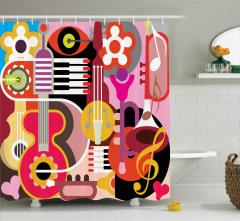 Müzik Severler için Duş Perdesi Rengarenk Nota Gitar