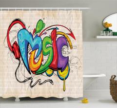 Rengarenk Duş Perdesi Sokak Sanatı Temalı Müzik