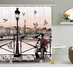 Karakalem Paris Manzaralı Duş Perdesi MüzikTuruncu