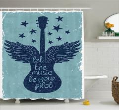 Müzik Severler için Duş Perdesi Gitar Nostaljik