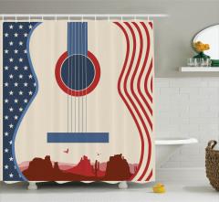 Amerikan Bayrağı Temalı Duş Perdesi Vahşi Batı Gitar