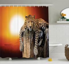 Gün Batımında Dinlenen Leoparlı Duş Perdesi Turuncu