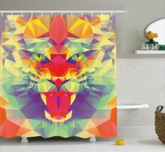 Rengarenk Duş Perdesi Kaplan Figürü Modern Sanat