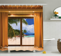 Pencere Desenli Duş Perdesi Plaj Deniz Kahverengi