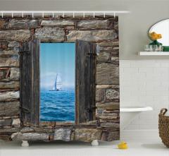 Ahşap Pencere Temalı Duş Perdesi Deniz Kahverengi