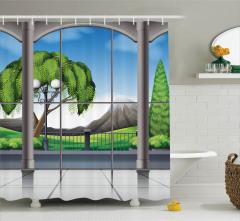 Pencere Desenli Duş Perdesi Ağaç Yeşil Gri Mavi