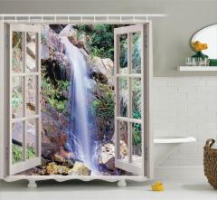 Çağlayan Manzaralı Duş Perdesi Bej Pencere Yeşil