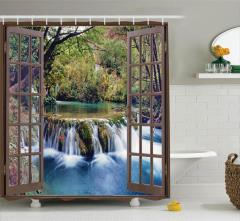 Şelale Manzaralı Duş Perdesi Pencere Ağaç Yeşil
