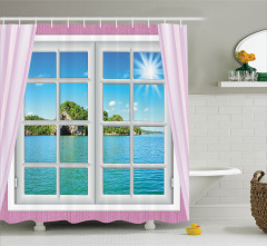 Turkuaz Deniz Manzaralı Duş Perdesi Pembe Pencere