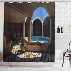 Havuz Manzaralı Duş Perdesi Mavi Terapi Sağlık Spa