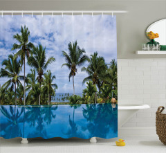 Havuz Manzaralı Duş Perdesi Mavi Gökyüzü Palmiye