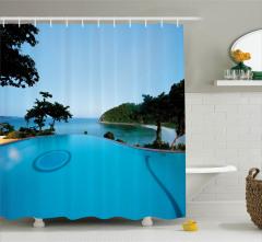Havuz Manzaralı Duş Perdesi Mavi Tatil Gökyüzü Ada