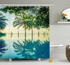 Havuz Manzaralı Duş Perdesi Mavi Yeşil Ağaç Doğa