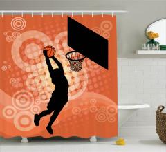 Turuncu Duş Perdesi Smaç Atan Adam Temalı Basketbol