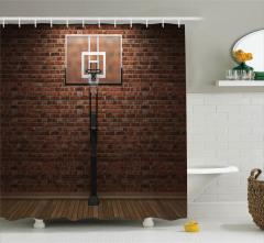 Basketbol Aşkı Temalı Duş Perdesi Eski Salon Turuncu