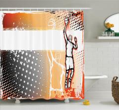 Basketbol Temalı Duş Perdesi Karakalem Poster Etkili
