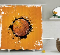 Turuncu Duş Perdesi Basketbol Topu Desenli Spor