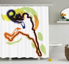 Basketbol Temalı Duş Perdesi Rengarenk Şık Tasarım