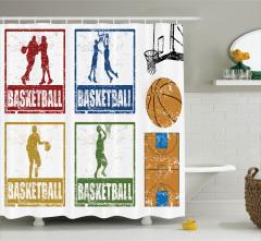 Basketbol Temalı Duş Perdesi Nostaljik Amblemler