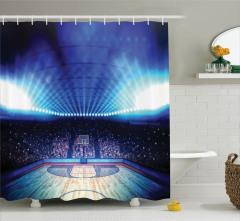 Basketbol Salonu Baskılı Duş Perdesi Mavi Işıklar
