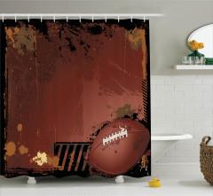 Amerikan Futbolu Temalı Duş Perdesi Kahverengi Top