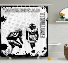 Amerikan Futbolu Temalı Duş Perdesi Siyah Beyaz