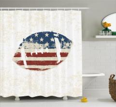 ABD Bayrağı Desenli Duş Perdesi Amerikan Futbolu