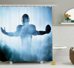 Amerikan Futbolcu Portreli Duş Perdesi Mavi Spor