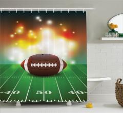 Amerikan Futbolu Temalı Duş Perdesi Yeşil Kahverengi
