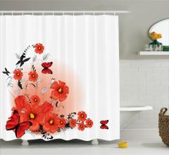 Çizgi Roman Tarzı Duş Perdesi Gelincik Çiçeği Deseni