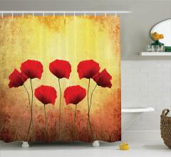 Nostaljik Duş Perdesi Kırmızı Romantik Gelincikler