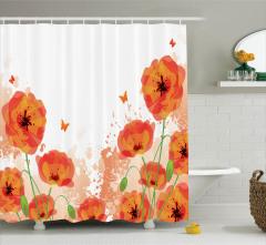 Turuncu Duş Perdesi Gelincik Çiçeği ve Kelebekler