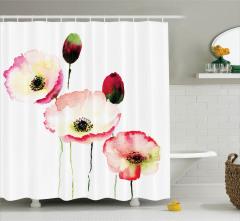 Romantik Duş Perdesi Gelincik Çiçekleri Tomurcuklar