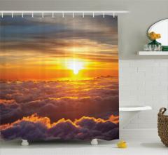 Gün Batımı Temalı Duş Perdesi Turuncu Gökyüzü Bulut