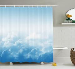 Mavi Gökyüzü ve Bulut Temalı Duş Perdesi Beyaz Işık