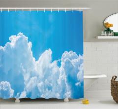 Mavi Gökyüzü Temalı Duş Perdesi Bulut Hava Beyaz