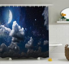 Yıldızlar ve Ay Temalı Duş Perdesi Lacivert Gökyüzü