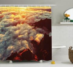 Tepede Gün Batımı Temalı Duş Perdesi Turuncu Bulut