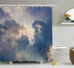 Gökyüzü ve Bulut Temalı Duş Perdesi Mavi Gri Şık