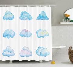 Bulut Desenli Duş Perdesi Turkuaz Beyaz Şık Tasarım