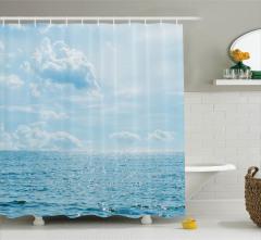 Deniz ve Bulut Manzaralı Duş Perdesi Mavi Gökyüzü
