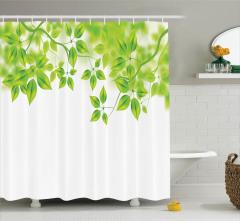 Yeşil Yaprak Temalı Duş Perdesi Doğa Bahar Ağaç