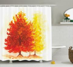 Sonbahar Temalı Duş Perdesi Sarı Kırmızı Ağaç Yaprak