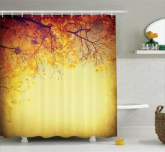 Sararan Yapraklar Temalı Duş Perdesi Sonbahar Ağaç